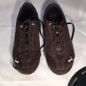 Chocolate suede puma sneakers
